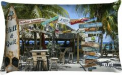 Blauwe Velits outdoor Buitenkussen beach Curacao