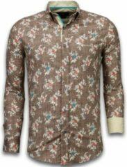 Tony Backer Italiaanse Overhemden - Slim Fit Overhemd - Blouse Woven Flowers Pattern - Bruin Casual overhemden heren Heren Overhemd Maat S