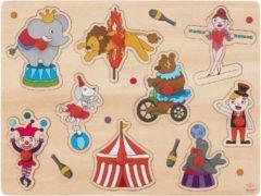 Merkloos / Sans marque Houten knopjes/noppen speelgoed puzzel circus thema 30 x 22 cm - Educatief speelgoed voor kinderen