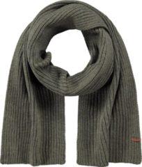 Donkergroene Barts Wilbert ribgebreide sjaal 160 x 20 cm