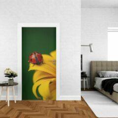 Rode Wallstation Deursticker Bloemen 4 - 100 x 250 cm - Gratis installatie-kit - Snelle levering