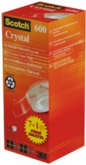 Scotch plakband Crysal Tape, ft 19 mm x 33m, 1 x value pack met 8 rollen waarvan 1 gratis