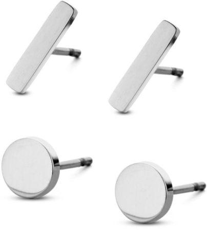 Afbeelding van CO88 Collection Sense 8CE 70016 Stalen Oorknoppen - Set van 2 Paar - Staafjes 10x2 mm en Rondjes 6 mm - Goudkleurig