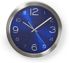 Blauwe Nedis Circular Wall Clock | 30 cm Diameter | Blue & Stainless Steel