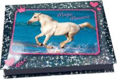 Blauwe Depesche Horses Dreams doos met schrijfwaren
