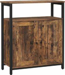 Acaza Rustieke Kast, Dressoir, met verstelbare planken en deuren, voor woonkamer, slaapkamer, hal, industrieel ontwerp, vintage bruin-zwart