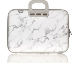 Witte Bombata 15,6 inch Laptoptas met marmerprint - Limited Edition Carrara