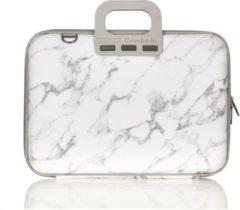 Witte Bombata 15,6 inch Laptoptas met marmerprint - Limited Edition Carrara