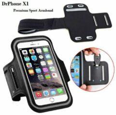 Zwarte DrPhone X1 - Reflecterende Sportarmband - Premium Hardloop Band voor elke Sport - Waterafstotend - Comfortabel - Verstelbaar - Oordoppen Aansluiting - Kaartvak - Sleutelvak - Geschikt voor de Nokia tot 5.2 inch