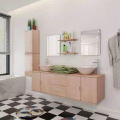 VidaXL Set 11 Mobili per bagno con lavandino con rubinetto beige