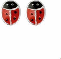 Rode Huiscollectie TFT Oorknoppen Lieveheersbeestje Zilver Glanzend 5 mm x 4 mm