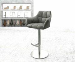 Zilveren DELIFE Barstoel Yulo draaivoet hoogteverstelbaar roestvrijstaal vintage grijs