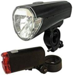 Zwarte Arcas Bike light set LED (monochrome) battery-powered Black