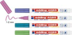 Krijtstift edding 4085 - 4 kleuren krijtmarkers: groen-metallic, blauw-metallic, paars-metallic en roze - ronde punt, 1-2mm