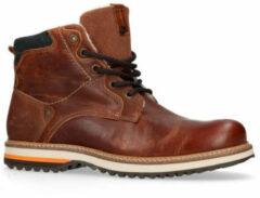No Stress - Heren - Cognac leren worker boots met imitatiebont - Maat 41