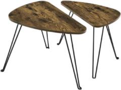 MIRA Home - Salontafel industrieel - Set van 2 - Vintage - Metaal/Hout - Bruin/Zwart - 52x31.5x42.5