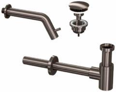 Douche Concurrent Toiletkraan Set Inbouw Muur Rond Koudwaterkraan Gunmetal Inkortbaar met Sifon en Always Open Plug