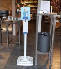 Blauwe Stil Casa Desinfectie zuil | Dispenser zuil desinfectie | Desinfectie paal | Desinfectie standaard | met hand / elleboog dispenser
