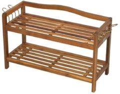 HOMCOM Schuheregal 2 Ablageflächen Akazienholz Teak Schuhschrank Holzregal mit Schuhablage Holzmöbel