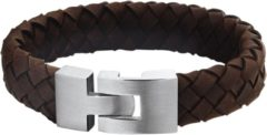 Donkerbruine DASH The Jewelry Collection For Men Armband Leer 15 mm 21,5 cm - Staal