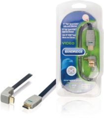 Blauwe Bandridge HDMI 1.4 High Speed with Ethernet kabel haaks naar beneden - 0,50 meter