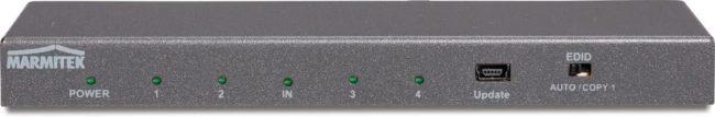Afbeelding van 4 poorten HDMI-splitter Marmitek Split 614 UHD 2.0 3D-weergave mogelijk, metalen behuizing, Ultra HD-geschikt, met ingebouwde repeater N/A Antraciet (metallic)