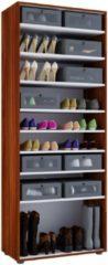 XXL Schuhschrank Schuhregal Schuhkommode Standschrank Universal Schrank Regal 'Vandol 9 Fächer' VCM Ohne Türen: Kern-Nussbaum