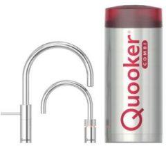 Zilveren Quooker COMBI+ Twintap Nordic Round Chroom Kokendwaterkraan