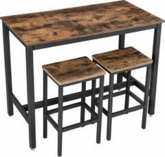 VASAGLE bartafel set, bartafel met 2 barkrukken, aanrecht met barstoelen, keukentafel en keukenstoelen in industrieel ontwerp, voor keuken, 120 x 60 x 90 cm, vintage, donkerbruin