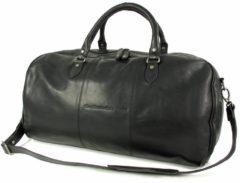 Zwarte Chesterfield Leren weekendtas reistas WILLIAM Wax pull up Zwart