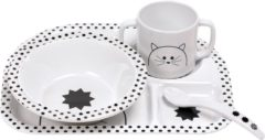 Witte Lässig kinderservies, 4-delig, Dish Set, Little Chums Cat