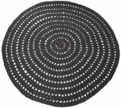 Laagpolig Vloerkleed Knitted - Zwart - 150 x 150 cm - Vintage, Patchwork, Scandinavisch & meer stijlen vind je op WoonQ.nl