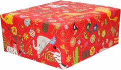 Bella Inpakpapier/cadeaupapier rood dierentuin dieren - 200 x 70 cm - Cadeauverpakking kadopapier