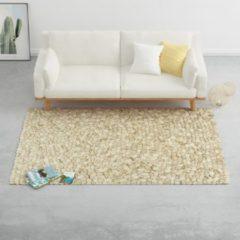 VidaXL Tapijt kiezel 160x230 cm wolvilt beige/grijs/bruin/chocolade