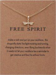 Goudkleurige Kasey Free Spirit Ketting - Libelle hanger aan ketting - Geluksketting - Dragonfly
