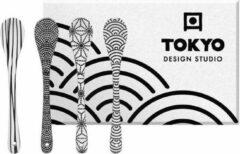 Witte Tokyo Design Studio Nippon Black Lepelset - 4 stuks - Porselein