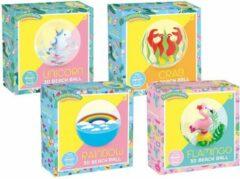 Grafix Set met 4 strandballen: Unicorn, Flamingo, Regenboog en Krab | Beach ball set| Strandbal opblaasbaar | Strandspeelgoed | Opblaasbaar zwembadspeelgoed | Inflatable beach ball | Bal | Strandbal | Strand | Unicorn speelgoed