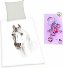 Grijze Herding Dekbedovertrek getekend Paard- 1 persoons, katoen- 140x200- incl. 5 delige metalen sleutelhanger