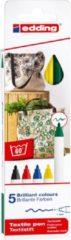 Edding textielstift 4600, set van 5 stuks in geassorteerde basiskleuren