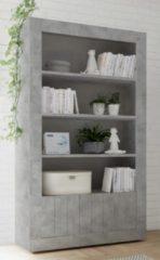Pesaro Mobilia Open boekenkast Urbino 190 cm hoog in grijs beton