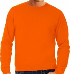 Bc Grote maten sweater / sweatshirt trui oranje met ronde hals voor heren - basic sweaters - oranje supporter / Koningsdag 3XL (58)