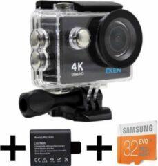 Zwarte EKEN H9R 4K Ultra HD waterproof action Camera met WiFi & diverse accessoires + 32GB Samsung MicroSD kaart + Extra batterij