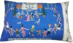 Blauwe Toetie & Zo Handgemaakt Kussen In Holland Staat een Huis, borduurwerk, 60x40, kinderkamer, babykamer