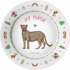 Roze Mies To Go Gepersonaliseerd kunststof eetbordje met naam - luipaard - kind - baby - kraamcadeau - verjaardag - handgeschilderd door Mies - aquarel