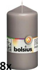 8 stuks Bolsius grijs stompkaarsen 130/70 (43 uur)