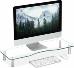 Transparante Relaxdays monitor verhoger glas - monitorstandaard - beeldschermverhoger - tv verhoging Groot