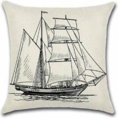 Zwarte By Javy Kussenhoes Sailing - Schip - Kussenhoes - 45x45 cm - Sierkussen - Polyester