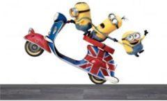 Gele De Fabriek Muurstickers Minions op de scooter - Muursticker