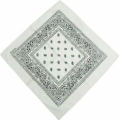 Fako Fashion® - Bandana - Hoofddoek - Mondbescherming - Zakdoek - Paisley - Wit