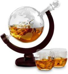 Bruine MikaMax - Globe Decanter Deluxe - Karaf en glazen set - Whiskey fles